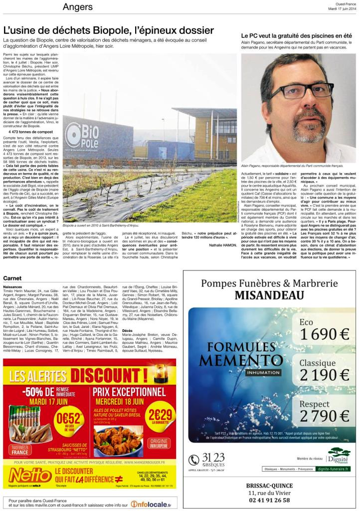 ouest france 17062014 Page 1